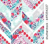 Chevron seamless pattern with watercolor flowers. Abstract hand painted floral elements and grunge texture. Cute pattern for summer design on distressed background