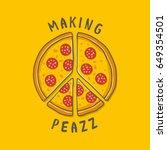 vector illustration pizza peace  | Shutterstock .eps vector #649354501