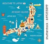 japan cartoon travel map ... | Shutterstock .eps vector #649355899