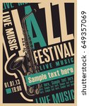 vector poster for a jazz... | Shutterstock .eps vector #649357069