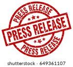 press release round red grunge... | Shutterstock .eps vector #649361107