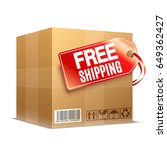 big cardboard box with free... | Shutterstock . vector #649362427