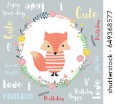 colorful greeting card with fox ... | Shutterstock .eps vector #649368577