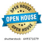 open house round isolated gold... | Shutterstock .eps vector #649371079