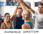happy fitness class giving high ... | Shutterstock . vector #649377199