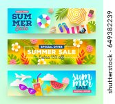 set of summer sale banners.... | Shutterstock .eps vector #649382239