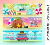 set of summer sale banners.... | Shutterstock .eps vector #649382515