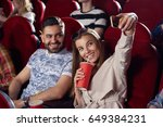 positive girlfriend drinking...   Shutterstock . vector #649384231