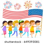 kids walking in a line with a... | Shutterstock . vector #649393081