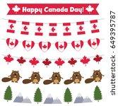 happy canada day vector bunting ... | Shutterstock .eps vector #649395787