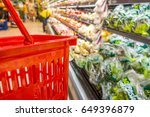 shopping with empty red plastic ... | Shutterstock . vector #649396879