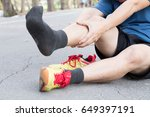 shin bone injury from running ... | Shutterstock . vector #649397191