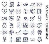romantic icons set. set of 36... | Shutterstock .eps vector #649401721