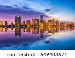 miami  florida  usa skyline on... | Shutterstock . vector #649403671