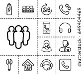 support icon. set of 13 outline ... | Shutterstock .eps vector #649404469