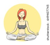 yoga. girl in the lotus position | Shutterstock . vector #649407745