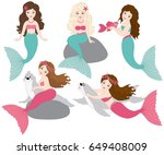 vector set of beautiful... | Shutterstock .eps vector #649408009