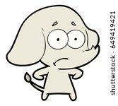 cartoon unsure elephant   Shutterstock .eps vector #649419421