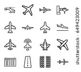 airline icons set. set of 16... | Shutterstock .eps vector #649423009