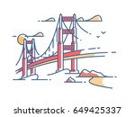 golden gate bridge to san... | Shutterstock .eps vector #649425337