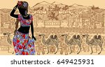 silhouette of an indian woman... | Shutterstock .eps vector #649425931