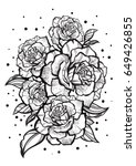 Stock vector hand drawn beautiful roses tattoo art graphic vintage composition vector illustration isolated 649426855