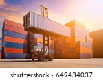 logistic cargo container in... | Shutterstock . vector #649434037