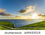 solar panels at sunrise with... | Shutterstock . vector #649435519