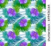 seamless pattern tropical palm... | Shutterstock .eps vector #649436164