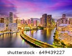 miami  florida  usa skyline on... | Shutterstock . vector #649439227