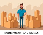 moving with boxes. transport... | Shutterstock .eps vector #649439365