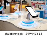 mobile show in cell phones shop. | Shutterstock . vector #649441615