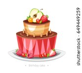cake with fruits and candles...   Shutterstock .eps vector #649449259