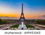 eiffel tower with morning light ... | Shutterstock . vector #649451065