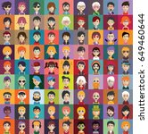 set of people icons with faces | Shutterstock .eps vector #649460644