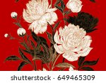 peonies seamless floral pattern.... | Shutterstock . vector #649465309
