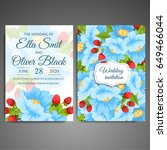 wedding invitation card suite... | Shutterstock .eps vector #649466044