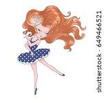 cute girl vector.t shirt... | Shutterstock .eps vector #649466521