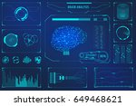 hud brain analysis concept user ... | Shutterstock .eps vector #649468621