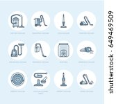 vacuum cleaners flat line icons....