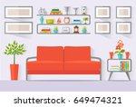 room with furniture. vector... | Shutterstock .eps vector #649474321