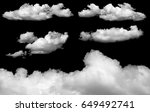 set of isolated clouds on black   Shutterstock . vector #649492741