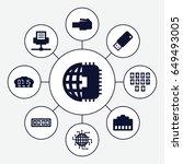usb icons set. set of 9 usb... | Shutterstock .eps vector #649493005