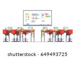 modern technology class room... | Shutterstock .eps vector #649493725