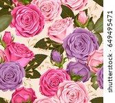 beautiful roses seamless   Shutterstock .eps vector #649495471