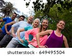 group of people exercising... | Shutterstock . vector #649495504