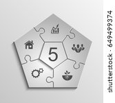 five sided 3d puzzle... | Shutterstock . vector #649499374