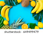 tropical fruits background ... | Shutterstock . vector #649499479