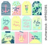 summer set of sale and gift... | Shutterstock .eps vector #649502581