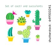 vector set of different cacti... | Shutterstock .eps vector #649503241